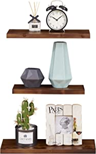 EKNITEY Floating Shelves Set of 3, Rustic Pine Solid Wood Wall Shelves Decor Display with Invisible Brackets for Kitchen Living Room Bathroom Bedroom (Walnut)