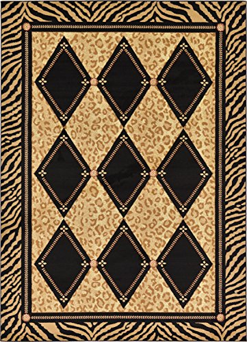 - Unique Loom Wildlife Collection Leopard Geometric Border Animal Print Light Brown Area Rug (7' 0 x 10' 0)