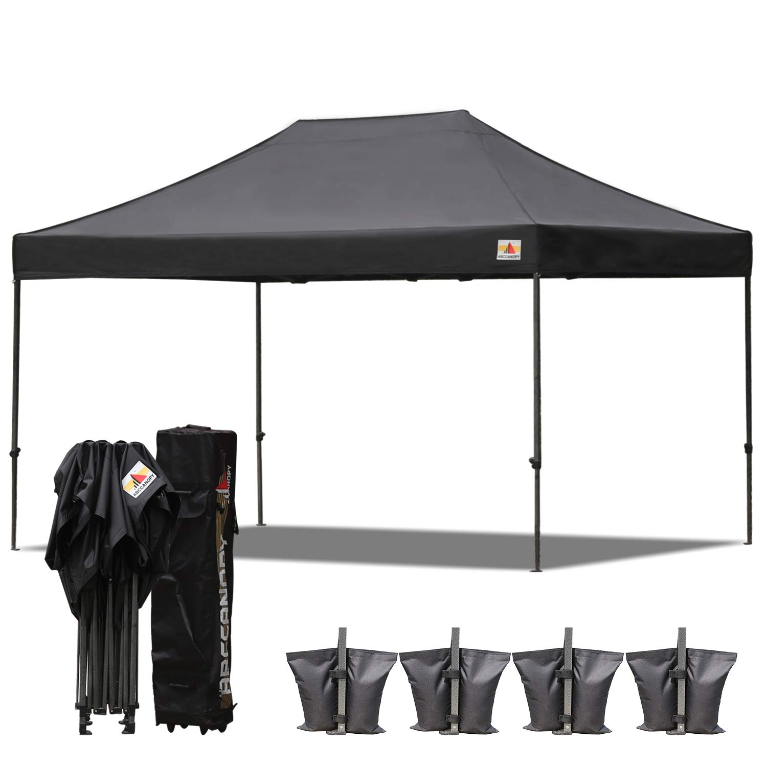 ABCCANOPY 23 Colors 10×15 Pop up Tent Instant Canopy Commercial Outdoor Canopy with Wheeled Carry Bag Bonus 4 Weight Bags Black
