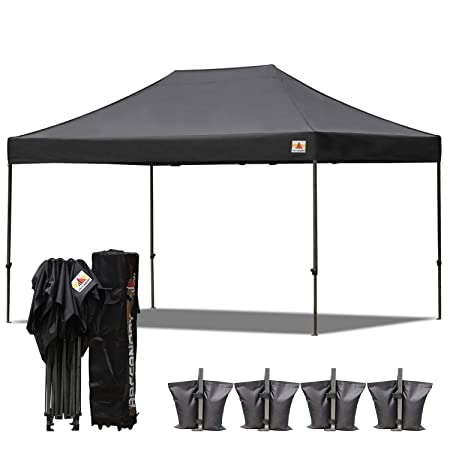 ABCCANOPY 10×15 Pop up Tent Instant Canopy Commercial Outdoor Canopy with Wheeled Carry Bag Bonus 4X Weight Bag Black