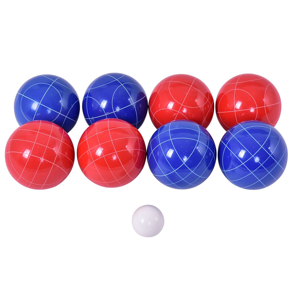 Outdoor Grassy Bocce Ball Backyard Sport w/Set 8 Red & Blue Balls Pallino