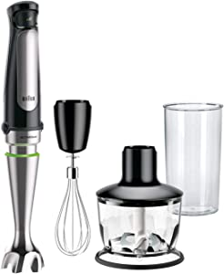 Braun MQ7035X 3-in-1 Immersion Hand, Powerful 500W Stainless Steel Stick Blender Variable Speed + 2-Cup Food Processor, Whisk, Beaker, High Quality Faster, Finer Blending, MultiQuick