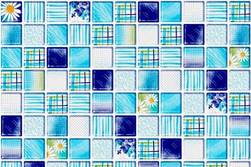"""- VandA Shop Peel and Stick Wallpaper Tile Vinyl Backsplash for Kitchen and Bathroom -Blue Flowers Design- (38"""" x 16"""")"""