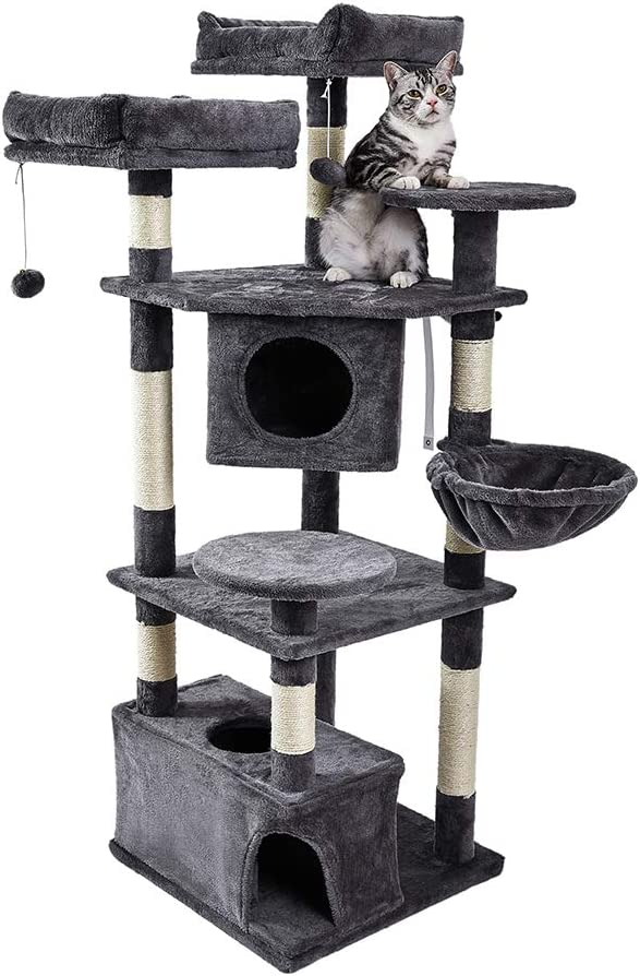 SUPERJARE Cat Tree Equipped with Spacious Perches & Plush Condos, Multi-Level Kitten Activity Tower with Scratching Posts & Basket Lounger