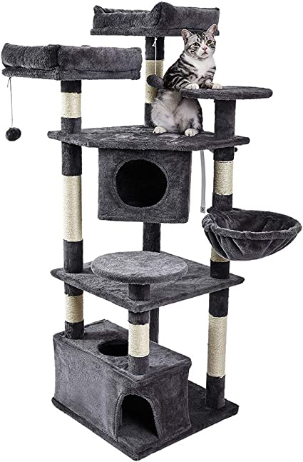 Multi-Level Kitten Activity Tower with Scratching Posts /& Basket Lounger Gray SUPERJARE Cat Tree Equipped with Spacious Perches /& Plush Condos