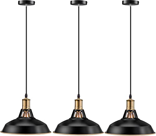 Pynsseu Farmhouse Style Industrial Pendant Light, Vintage Barn Hanging Pendant Lighting, Modern Pendant Lamp Fixture 3 Pack, Oil Rubbed Black Finish