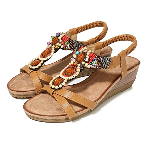 c833d484cc7af Amazon.com: DOMUMY Black Sandals, Women Ladies String Bead Casual ...