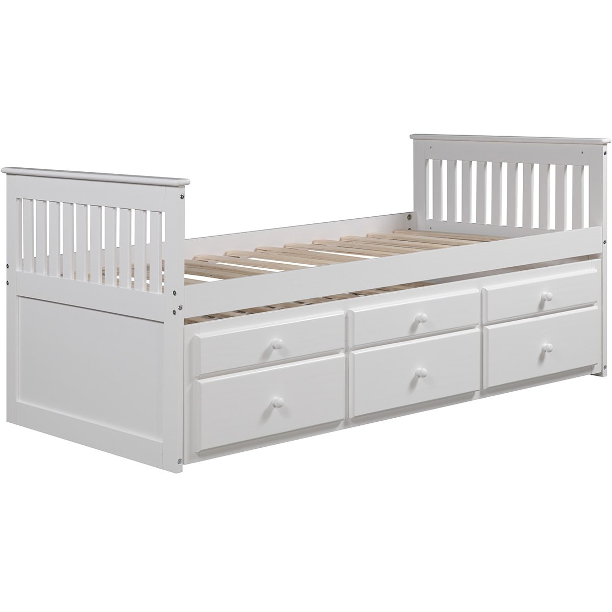 Hooseng, White, Solid Slat Support Soild Wood Platform Frame Captain s Twin Daybed with Trundle Bed and Storage Drawers