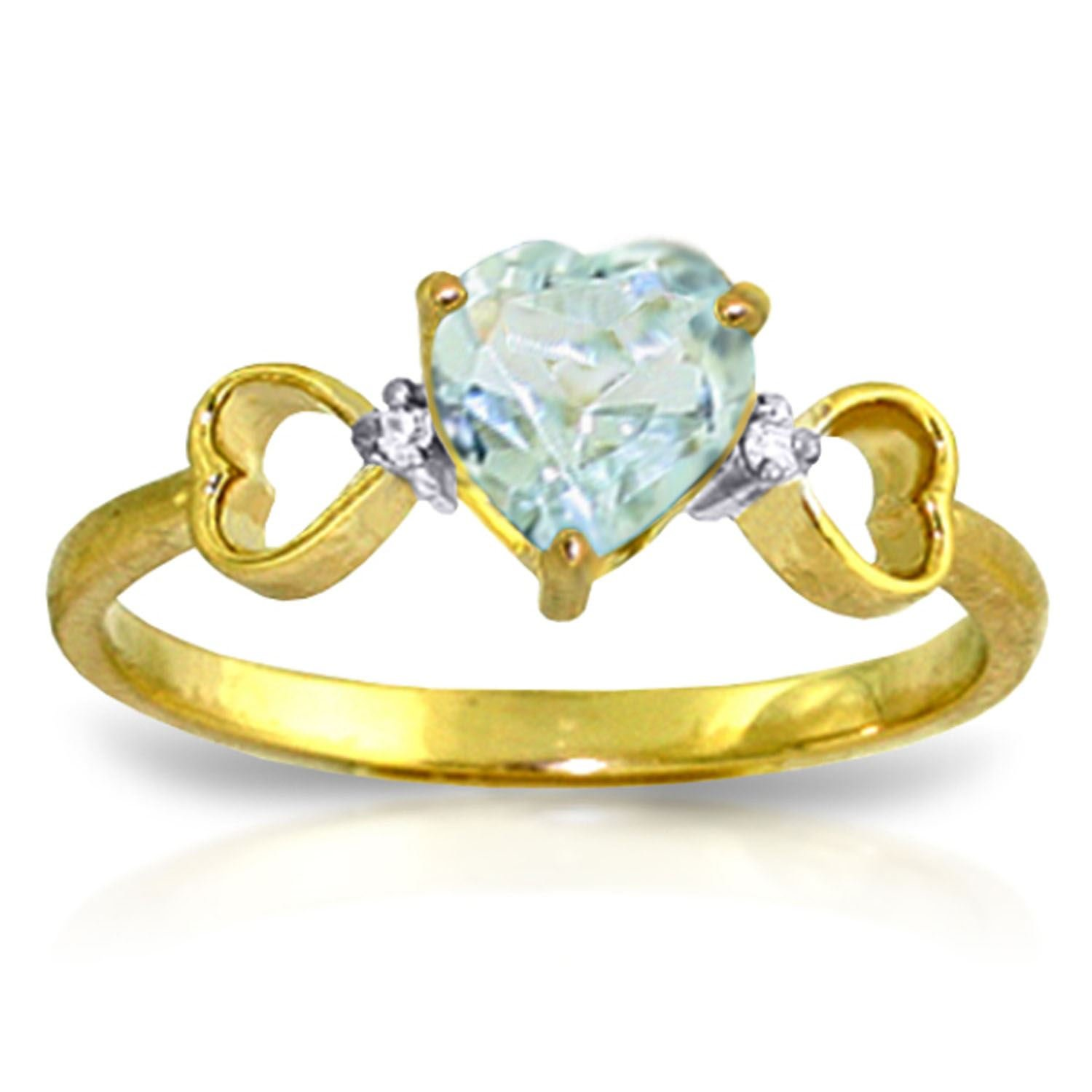 ALARRI 0.96 CTW 14K Solid Gold Lovely Love Aquamarine Diamond Ring With Ring Size 8