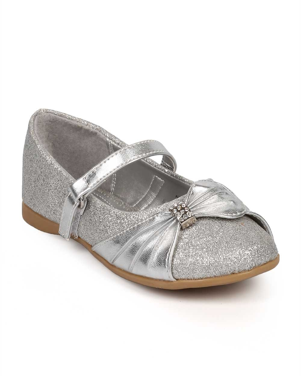 Little Angel Girl Glitter Round Toe Rhinestone Bow Mary Jane Flat (Toddler) DF70 - Silver (Size: Toddler 4)