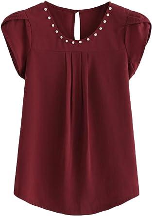 Camisas Mujer Elegantes Verano Manga Corta Cuello Redondo ...