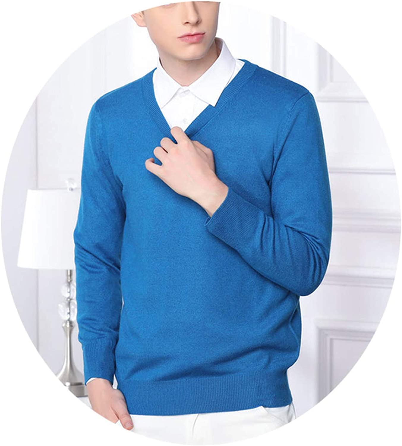 Friendshiy Men Cashmere Wool Knitted Sweater V-Neck Pullovers Male Autumn Winter Basic,XX-Large,3SeaBlue