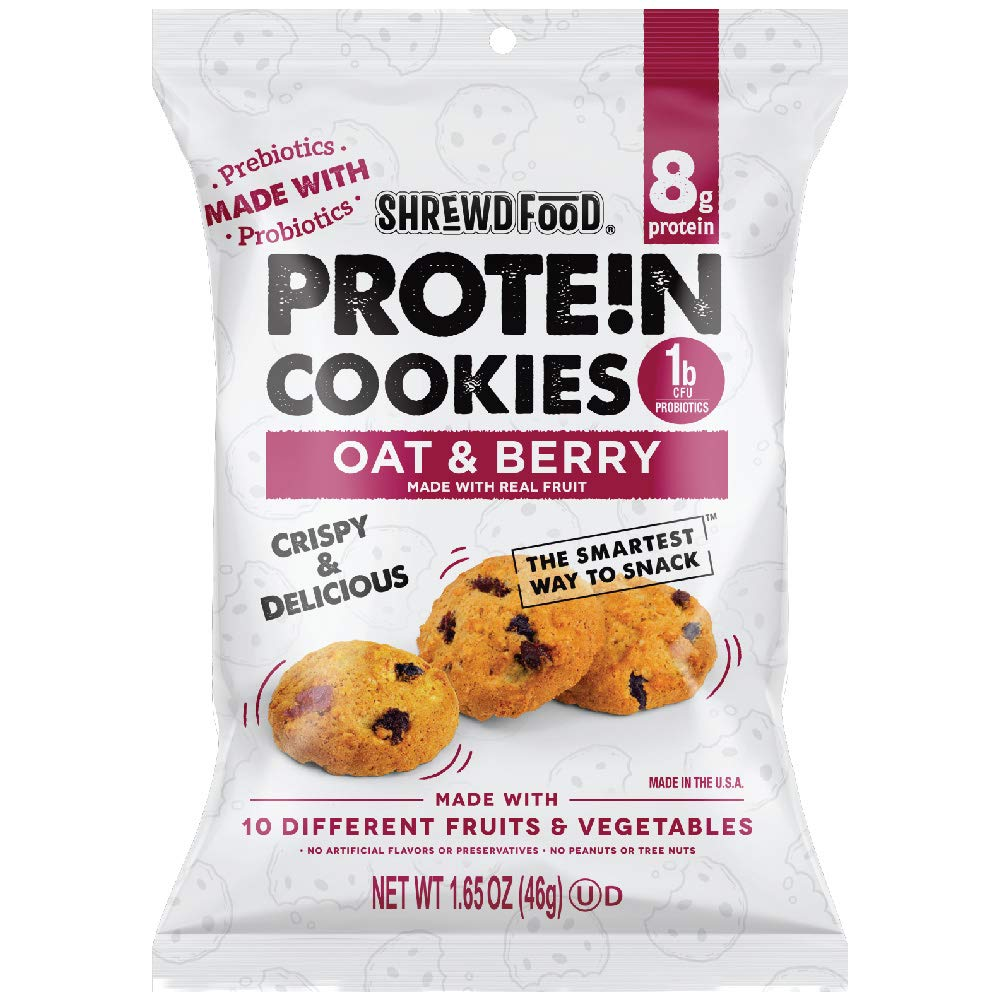 Shrewd Food High Protein Mini Cookies, Oat & Berry, 16 Pack, 8g Protein, Made with Prebiotics & Probiotics, Supports Digestive Health, Healthy Snacks, Dessert Sweets, Oat & Berry, 16 Pack