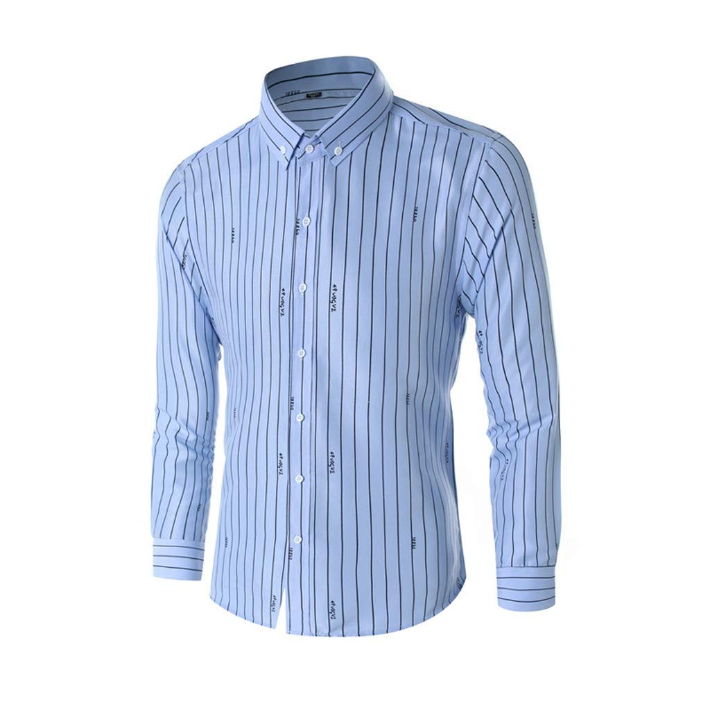 4416517a3db1d9 Stoota Men's Business Leisure Long-Sleeved Vertical Stripe Printing Slim Fit  Button-Down Shirt Top at Amazon Men's Clothing store: