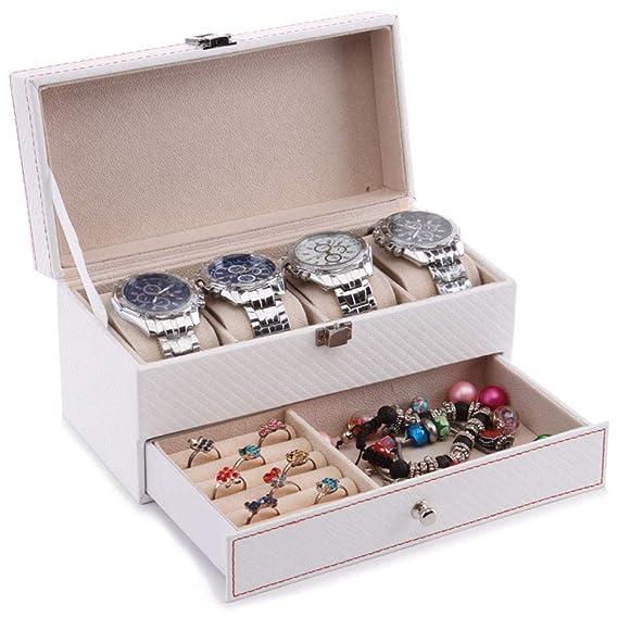 Caja de Almacenamiento de Reloj Caja de joyería de Doble Fibra de Carbono Joyería portátil de Viaje Collar de Almacenamiento Caja de Acabado: Amazon.es: ...