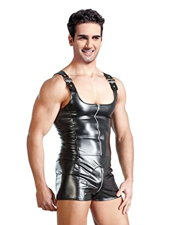 Killreal Men s Faux Leather Night Club Wetlook Bodysuit Boxer Jumpsuit  Black Medium