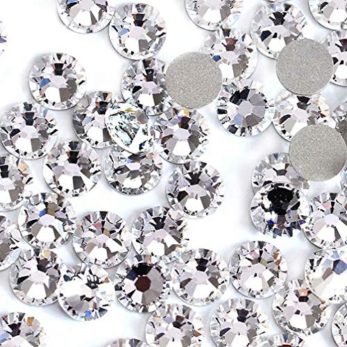 Austrian Crystal Stones - Rhinestones for Nails 1440pcs Crystal AB/Clear Crystal Flatback Glass Rhinestones Nail Art Crystals Diamond Art Round Flatback Gems Stones Austrian Crystal DIY Eye Makeup Nails (Clear Crystal ss20)