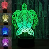 3D Turtle Night Light USB Touch Switch Decor Table Desk Optical Illusion Lamps 7 Color Changing Lights LED Table Lamp Xmas Home Love Brithday Children Kids Decor Toy Gift
