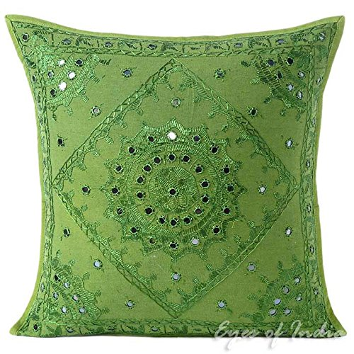 """EYES OF INDIA - 16"""" Green Mirror Embroidered Decorative Thro"""