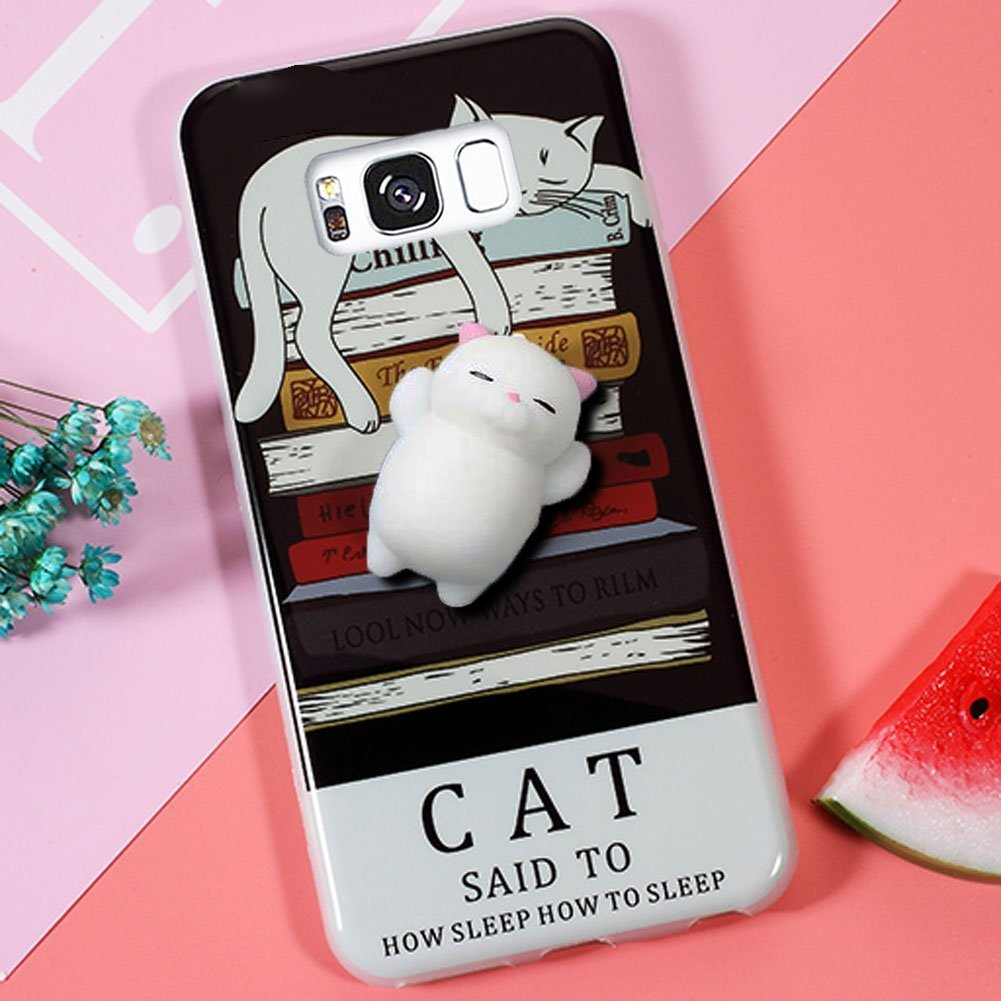 new style 37e93 f7e57 DStores Squishy Case for Galaxy S7, Cute Squeeze Stretch Compress Slow  Rising Healing Stress Reduce Soft Silicone 3D Cat Back TPU Cover for  Samsung ...