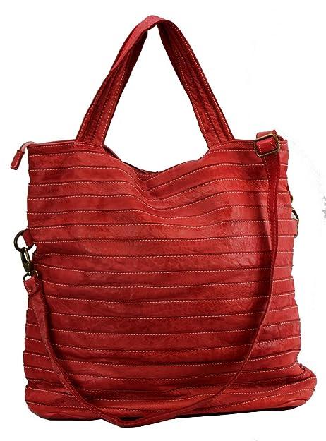 78526c23e BZNA Bag Rojo Rosso Italy Diseñador Stefania Mujer Bolso de mano (piel -  Bolso de piel Shopper, color: Amazon.es: Zapatos y complementos