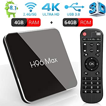 Android 8.1 Smart TV Box, H96 MAX X2 4GB RAM y 64GB ROM TV Box con Amlogic S905X2 Quad-Core, Soporte 2.4G/5.8G Dual WiFi BT4.0 HDMI2.1 USB3.0: Amazon.es: Electrónica