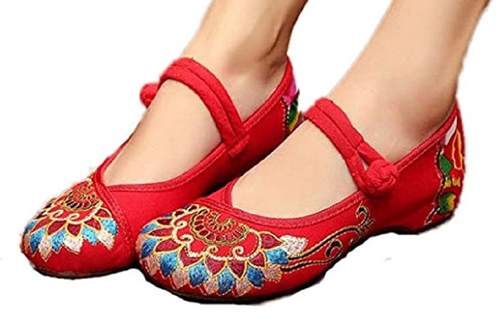 TIANRUI CROWN Womens Buddhism Totem Embroidery Casual Mary Jane Shoes