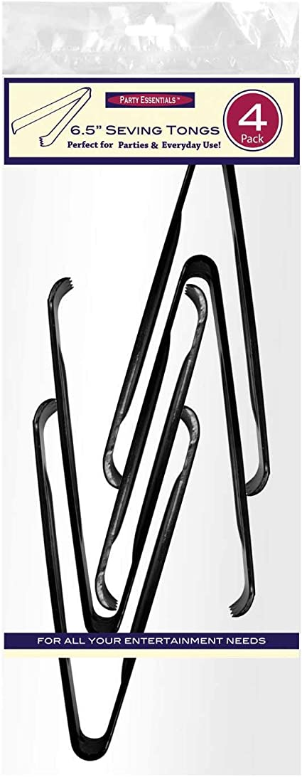 Black Party Essentials Hard Plastic 6-1//2 Serving Tongs 4 Count