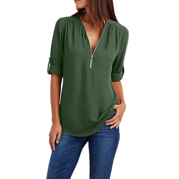 Mujer Blusas y Camisas Las Mujeres Gasa Blusa V Cuello Cremallera de Gran Tamaño Mangas largas