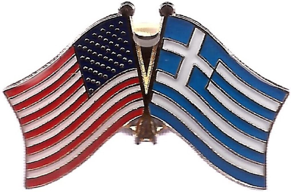 GREECE /& USA FLAGS LAPEL PIN