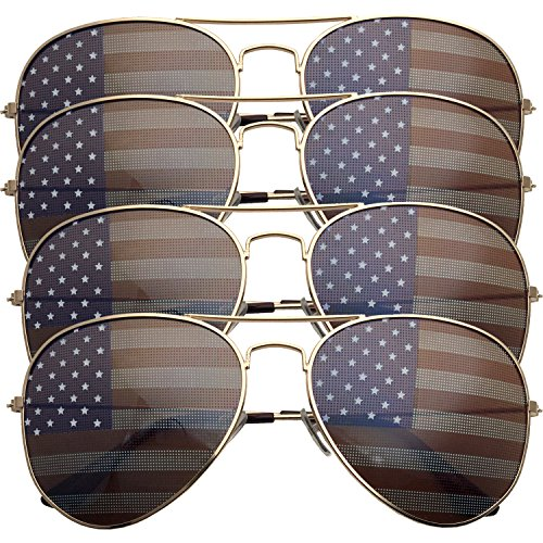 4 PACK Womens Bulk USA American Flag Aviator Sunglasses - Pack 4 Sunglasses