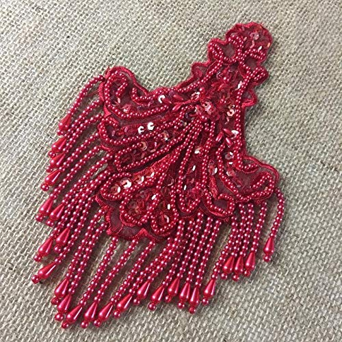 Beaded Applique Piece Lace Hanging Beads Strings Fringe Dangling Quality Rich, 8