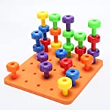 Rcool Building Block Toys, Baby Kids 30PCS Pegboard Set Building Blocks Montessori Therapy Fine Motor Toy Wisdom Development Puzzle Educational Toy Child Gift
