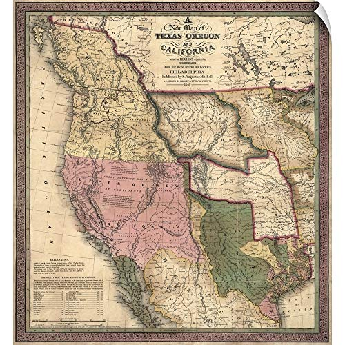 """CANVAS ON DEMAND Wall Peel Wall Art Print Entitled Antique Map of The Western US, 1846 19""""x20"""""""