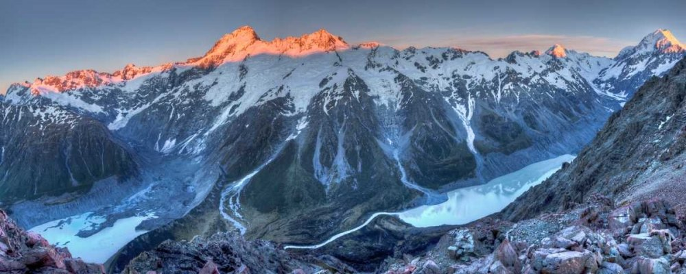 24 x 48 Sunrise on Mount Sefton and Mount Cook above Hooker Valley Mount Cook National Park New Zealand Poster Print by Colin Monteath