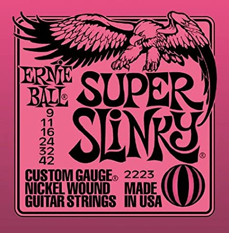 Amazon.com: Ernie Ball 2223 Super Slinky String Set (9 - 42) Electric Guitar Strings - 3 Pack with Picks: Musical Instruments