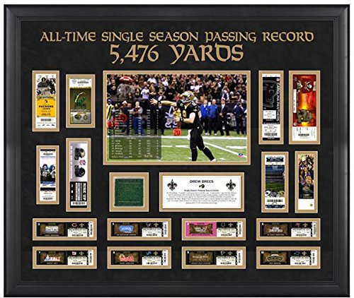 New Orleans Saints Drew Brees Record Breaking Season Ticket Collage with Game-Used Turf - NFL Player Plaques and Collages Fanatics Authentic