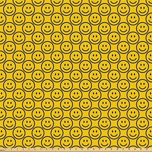 (Ambesonne Emoji Fabric by The Yard, Flat Smiley Faces Expressing Happiness in Diagonal Order Joyful Childhood, Microfiber Fabric for Arts and Crafts Textiles & Decor, 1 Yard, Charcoal Grey Yellow)