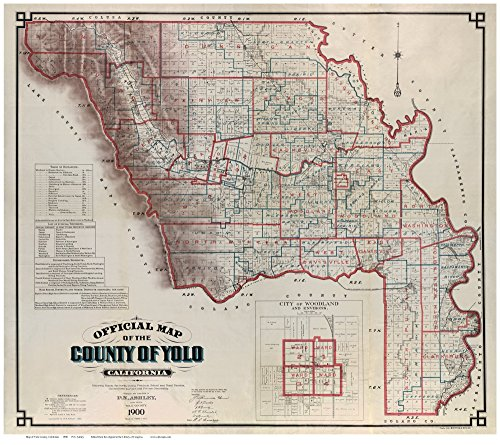 Yolo County California 1900 - Wall Map with Landowner Names Farm Lines Genealogy Old Map - Woodlands Map Lake