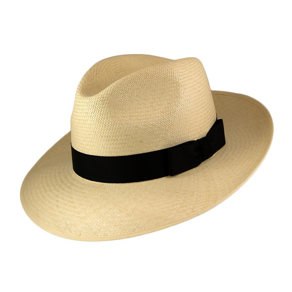 Olney Hats Snap Brim Panama Fedora with Black Band