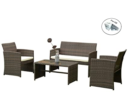 Amazon.com : 4 PCS Outdoor Patio Rattan Wicker Furniture Set ...