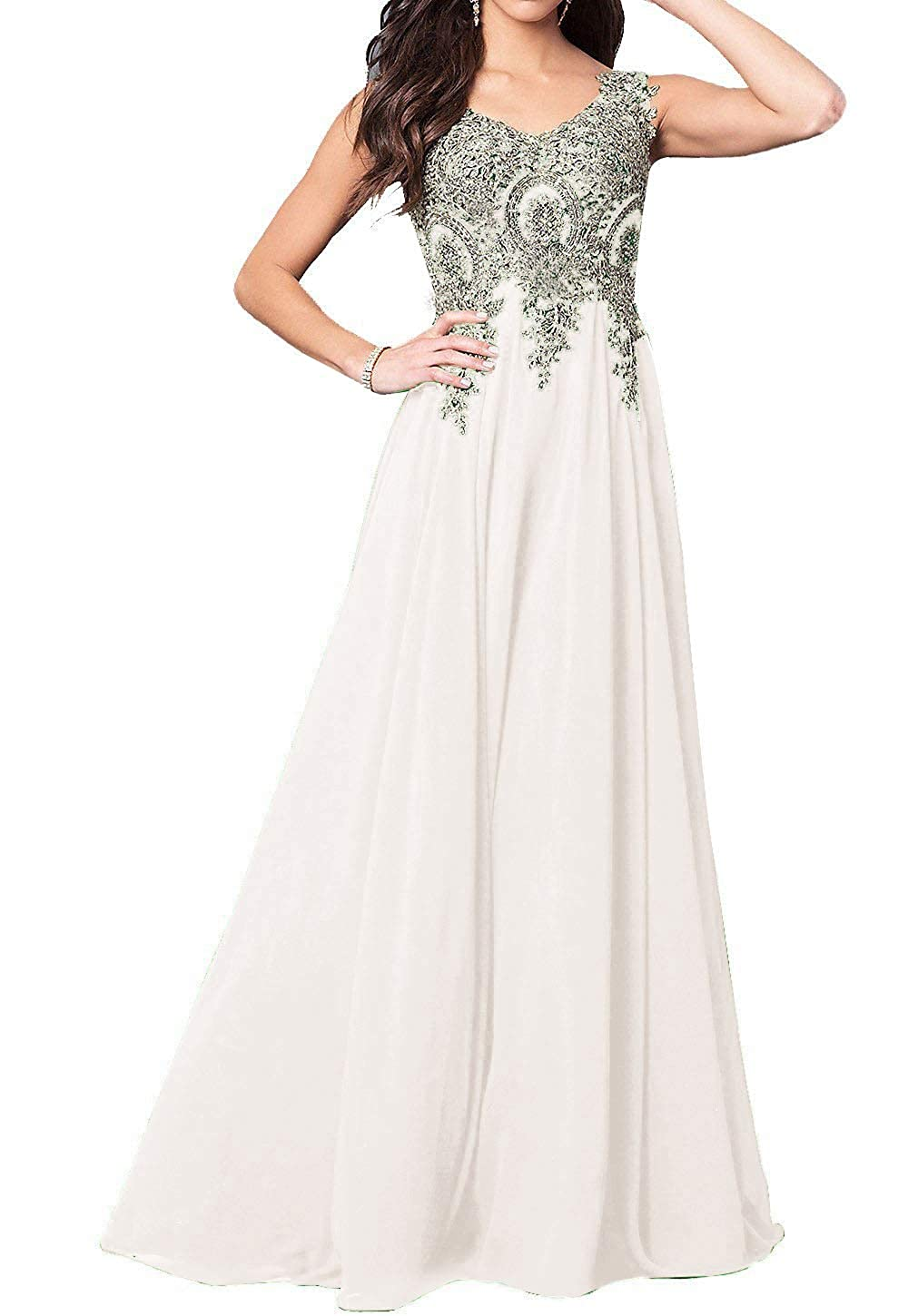 Ivory GMAR Beaded Appliques Prom Dresses A Line V Neck Open Back Long Formal Gowns