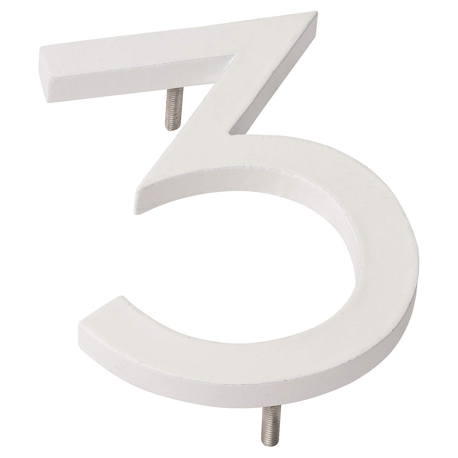 Montague Metal Products MHN-10-3-F-WE1 Floating House Number, 10 inches x 7.75 inches x 0.375 inches, White