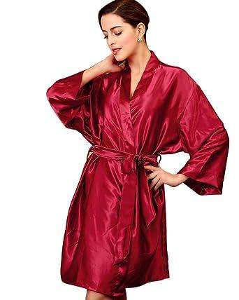 SaiDeng Mujeres Kimono Satén Seda Elegantes Suaves Batas De Baño Ropa De Dormir Albornoces Camisón Pijamas Vino Rojo: Amazon.es: Ropa y accesorios