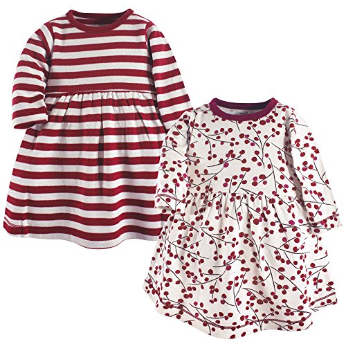 Touched by Nature Baby Girl Organic Cotton Dresses, Berry Branch Long Sleeve 2-Pack, 6-9 Months (9M) -
