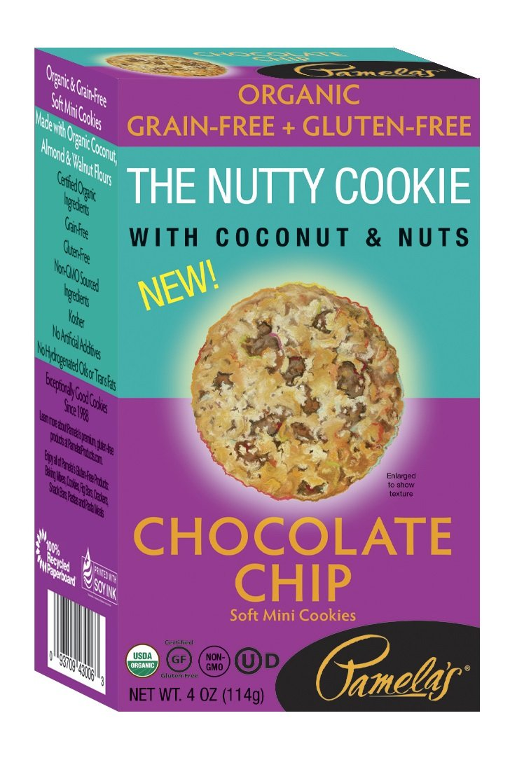 Pamela's Products Grain Free, Gluten Free Organic Nutty Cookies, Chocolate Chip, 6 Count