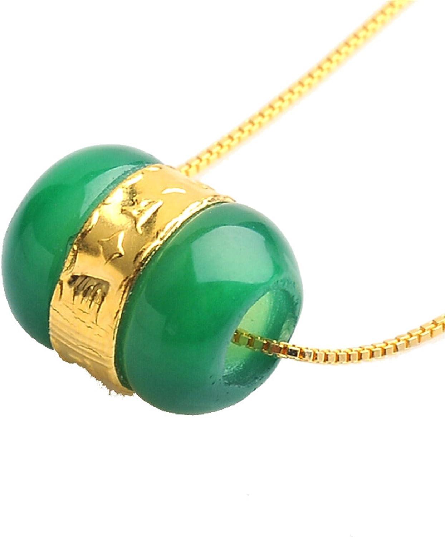 Colgante de oro de 24K amarillo con piedra de jade natural, diseño de cuenta de la suerte, incluye cadena