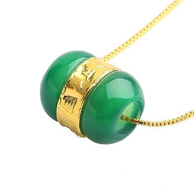 quantité limitée dernière remise styles divers Pendentif perle porte-bonheur en jade naturelle et or jaune 24 carats avec  chaîne en argent gratuite