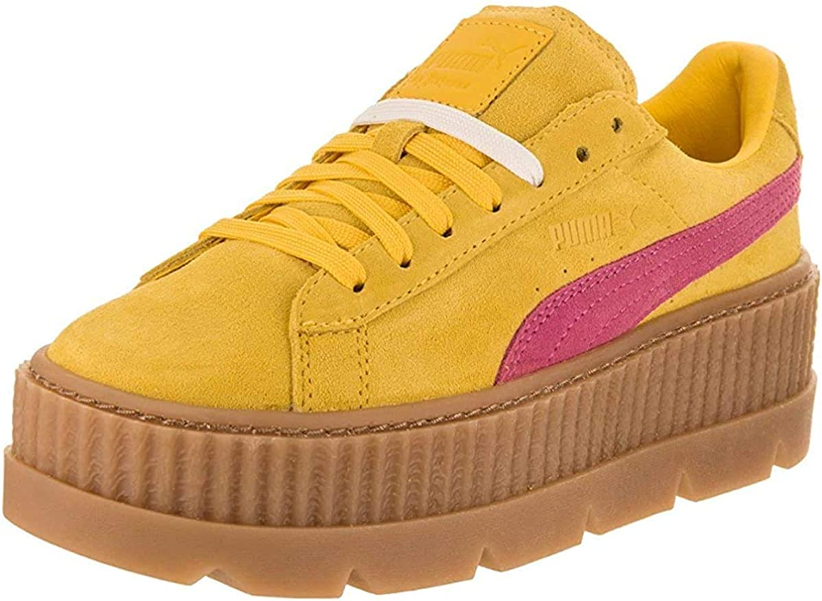PUMA Womens Fenty by Rihanna Suede Cleated Creeper Casual Sneakers, Yellow,  9