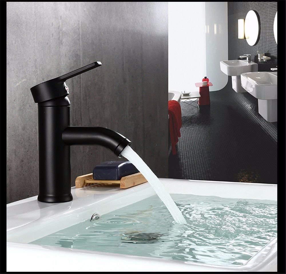 FERZA Home Waschbecken-Mischbatterie Badezimmer-Küchen-Becken-Hahn auslaufsicher Save Water Schwarz Edelstahl warm warm warm und kalt 4d6598